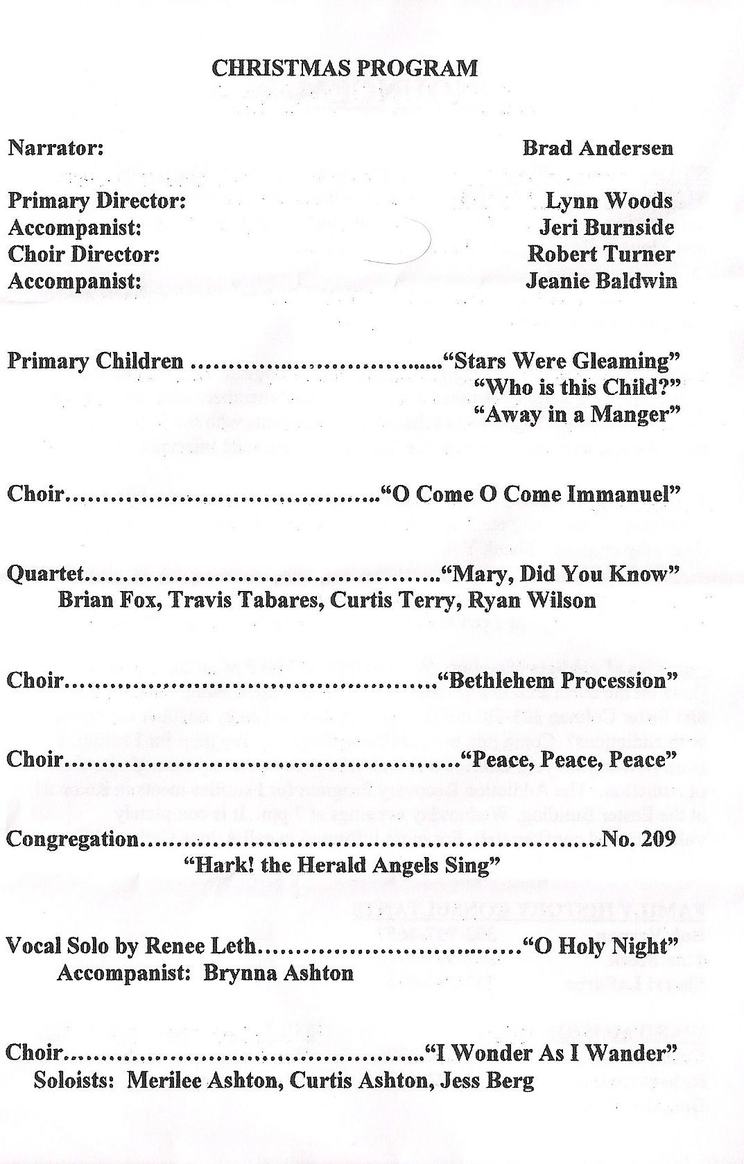 Littleton Ward Sacrament Meeting Program, page 3, 12-20-09