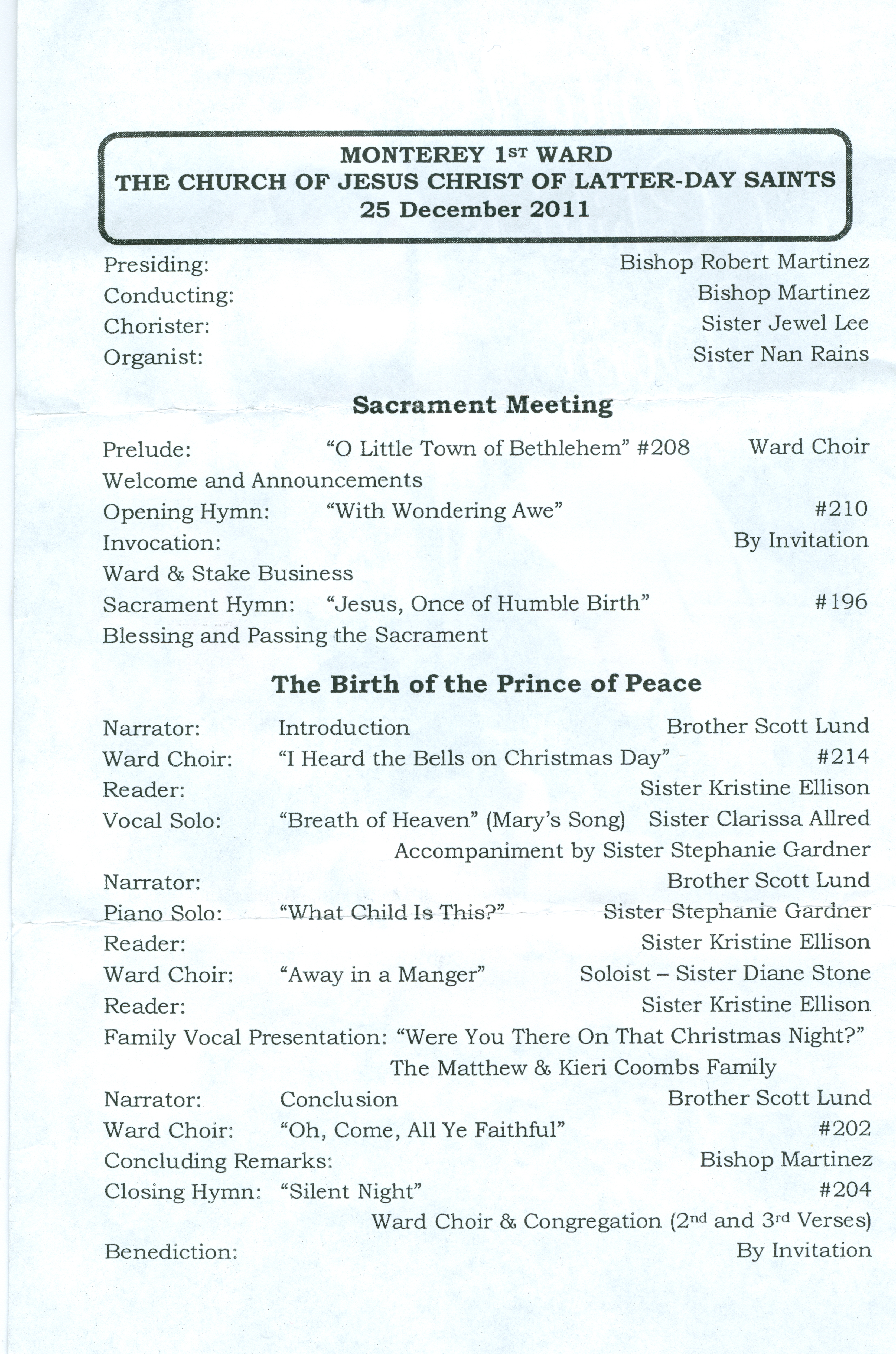 ... at 1 pm, where Scott Lund was the narrator for the Christmas program