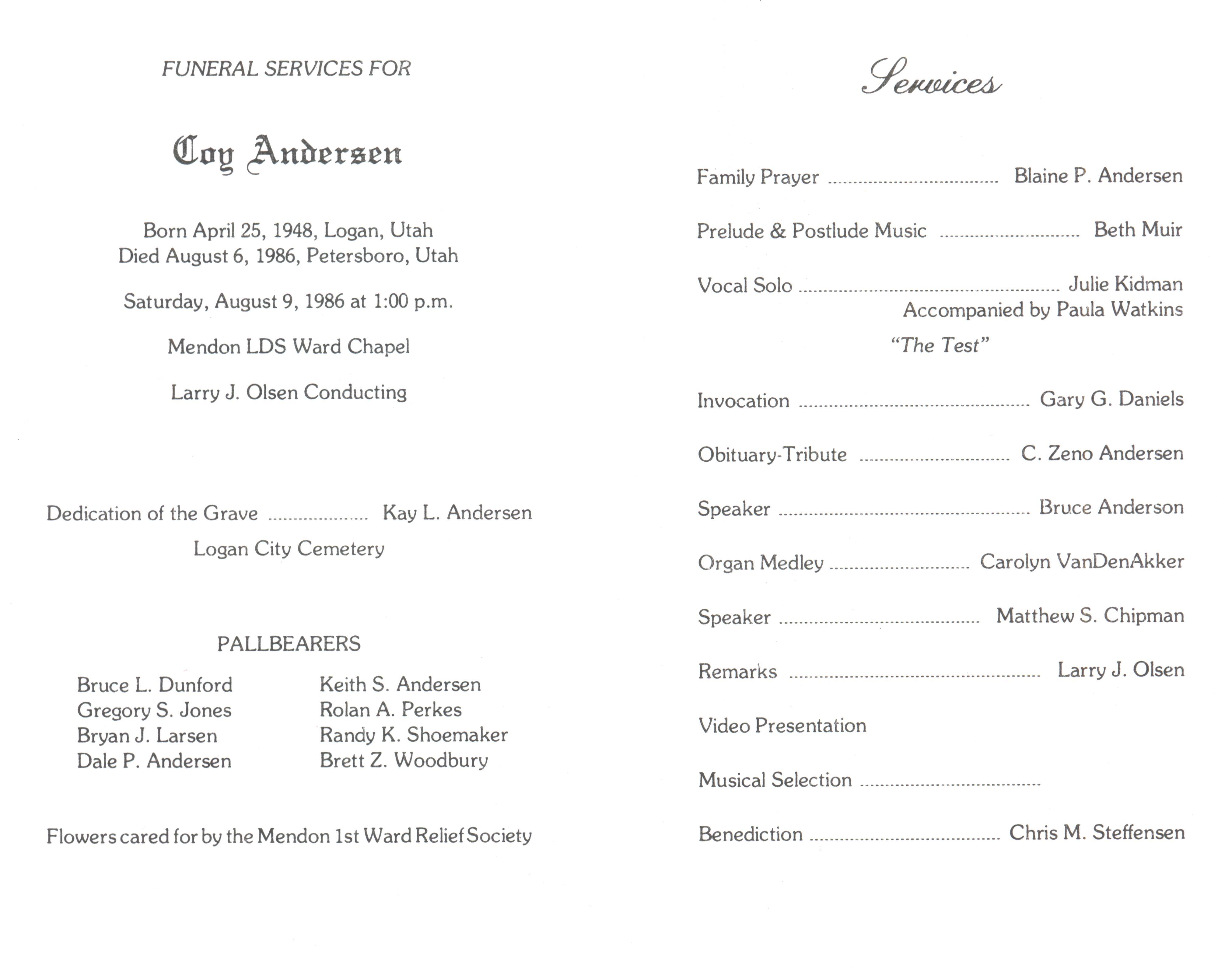 word funeral program